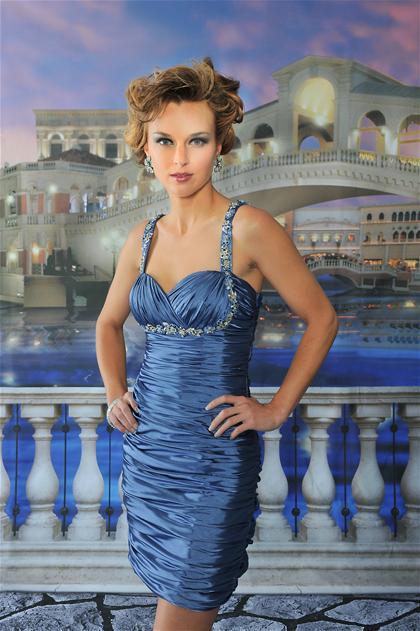 Shop Mia's Closet — Steel Blue Dress