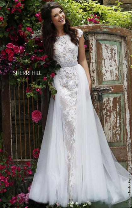 Sherri hill sleeved lace bridal dress 11288 for Sherri hill wedding dresses