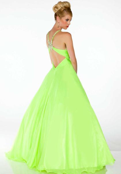 Neon green prom dress