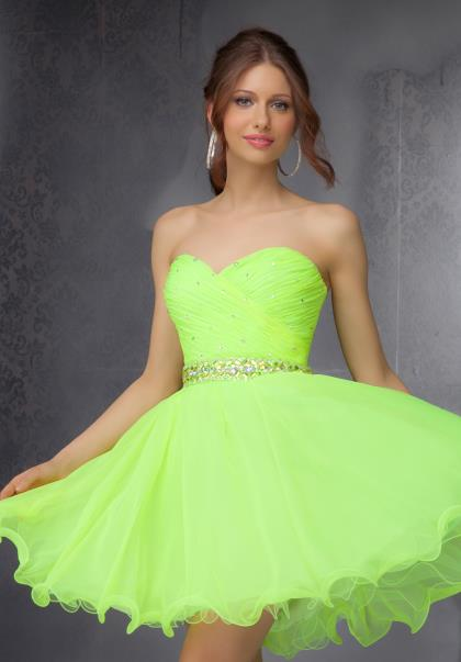 A variety of dresses: Neon green prom dress