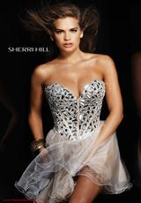 Sherri Hill Short 1403.  Available in Black/Silver, Fuchsia, Gunmetal, Lilac/Silver, Lime/Silver, Nude/Silver, Yellow/Silver