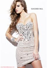 Sherri Hill Short 1429.  Available in Aqua/Silver, Gold, Nude/Silver, Silver, Turquoise