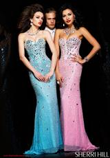 Sherri Hill 1435.  Available in Aqua/Silver, Black/Black, Black/Gunmetal, Gold, Gunmetal, Lilac/Silver, Nude/Silver, Pink/Silver, Turquoise/Silver, White/Silver
