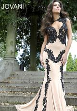 Jovani 89902.  Available in Black/White, Nude/Black, Nude/Blue, Nude/White