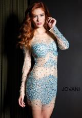 Jovani Cocktail 7757.  Available in Black, Gunmetal, Navy, Nude, Nude/Aqua, Nude/Silver, Rose/Gold