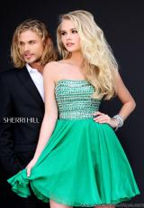 Sherri Hill Short 11028.  Available in Aqua, Black/Gunmetal, Emerald, Fuchsia, Ivory/Gold, Light Blue, Navy/Gunmetal, Nude, Pink, Purple, Red, Royal, Turquoise, Yellow