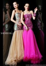Sherri Hill 21060.  Available in Black/Multi, Fuchsia, Light Blue/Light Blue, Nude/Nude