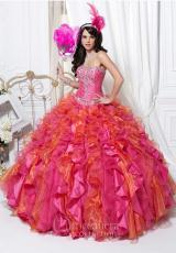 Tiffany Quinceanera 26710.  Available in Fuchsia/Orange, Turquoise/Peridot, Turquoise/Pink, White/White