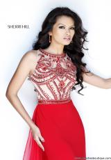 Sherri Hill 11069.  Available in Aqua/Silver, Black/Gunmetal, Navy/Gunmetal, Nude/Silver, Red/Nude