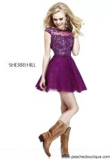 Sherri Hill Short 21032.  Available in Blush, Plum/Nude