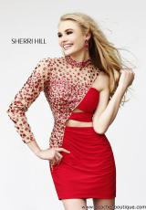 Sherri Hill Short 21185.  Available in Black/Nude, Navy/Nude, Nude, Red/Nude