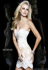 Sherri Hill Short 21187.  Available in Black/Nude, Blush/Nude, Ivory/Nude, Navy/Nude, Red/Nude