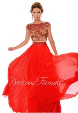Precious Formals P38032.  Available in Hollywood Red, Kelly Green, Nude/Black Stones, Purple