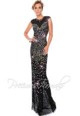 Precious Formals P9123.  Available in Blk/Black, Crystal Nude/Silver, Crystal Royal Silver, Nude/Red