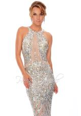 Precious Formals P9128.  Available in Nude/Pewter, Nude/Silver