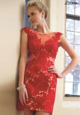 Jovani Cocktail 92013.  Available in Black/Nude, Ivory/Nude, Red/Nude