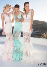 Tarik Ediz 92589.  Available in Ivory, Mint, Pink, Yellow