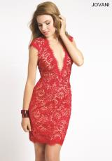Jovani Cocktail 20090.  Available in Coral/Nude, Ivory/Nude, Navy/Nude, Red/Nude, Turquoise/Nude, Yellow/Nude
