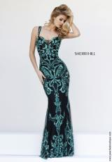 Sherri Hill 9751.  Available in Black/Emerald