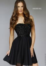 Sherri Hill Short 1954.  Available in Black, Gunmetal, Jade, Olive, Peacock, Royal, Ruby