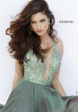 Sherri Hill Short 1971.  Available in Black, Gunmetal, Olive, Peacock, Royal, Ruby, White