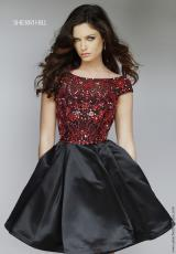 Sherri Hill Short 32273.  Available in Black/Red, Emerald, Navy, Red, Royal, Turquoise