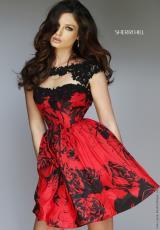 Sherri Hill Short 32111.  Available in Black/Leopard, Black/Red