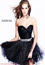 Sherri Hill Short 2407.  Available in Black, Coral, White, Yellow