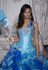 Tiffany Quinceanera 26685.  Available in Fuchsia/Pink, Turquoise/Royal, White/White
