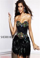 Sherri Hill Short 2886.  Available in Black/Multi, Purple/Multi, Turquoise/Multi