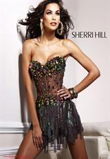 Sherri Hill Short 2900.  Available in Black/Multi, Coffee, Purple, Silver