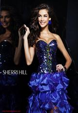 Sherri Hill 2920.  Available in Black/Multi, Fuchsia, Gold, Green, Purple, Red, Royal