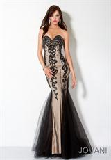 Jovani 3425.  Available in Black/Nude, Coral/Coral, White/Nude