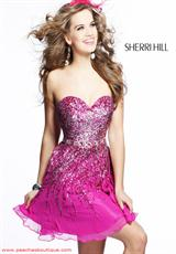 Sherri Hill Short 8413.  Available in Aqua/Silver, Black/Silver, Brown/Silver, Coral/Silver, Green/Gold/Silver, Ivory/Silver, Magenta/Silver, Navy/Silver, Pink/Gold, Purple/Silver, Royal/Silver, Strawberry, Yellow