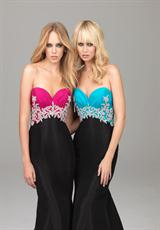 Evenings By Allure A502.  Available in Coral/Black, Fuchsia/Black, Turquoise/Black