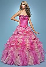 Landa Quinceanera AQ01.  Available in Paris Blue/Sapphire, Pink/Lipstick, Tangerine/Gold, Tropical Peach/Gold