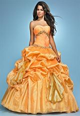 Landa Quinceanera AQ03.  Available in Bright Yellow, Paris Blue, Pink, Tropical Peach