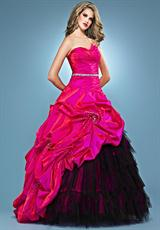 Landa Quinceanera AQ04.  Available in Fuchsia/Black, Paris Blue, Peony, Purple, Red, Tangerine, Tropical Peach
