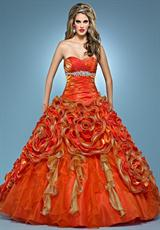 Landa Quinceanera AQ11.  Available in Bright Yellow, Paris Blue, Peony, Tangerine/Tropical Peach