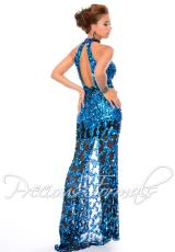Precious Formals P9045.  Available in Iridescent Peacock, Nude Crystal