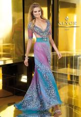 Alyce 2221.  Available in Turquoise/Fuchsia
