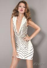 Jovani Cocktail 6323.  Available in Black/Silver, Ivory/Gold