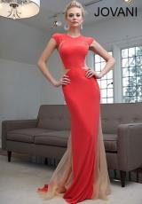 Jovani 89923.  Available in Coral/Nude, Gunmetal/Nude