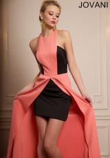 Jovani 93516.  Available in Coral/Black, Fuchsia/Black