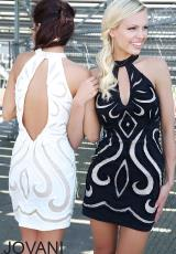 Jovani Cocktail 94300.  Available in Black, Ivory, Red