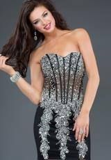 Jovani Cocktail 89688.  Available in Black/Silver, Nude/Silver, Red