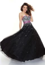 Mori Lee 93019.  Available in Black/Fuchsia, Black/Turquoise