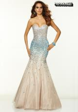 Mori Lee 97050.  Available in Deep Royal, Nude/Turquoise