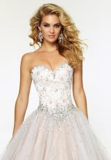 Mori Lee 97076.  Available in Black/Nude, White/Nude