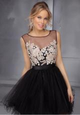 Mori Lee Sticks & Stones 9285.  Available in Black/Champagne, Fuchsia/Champagne